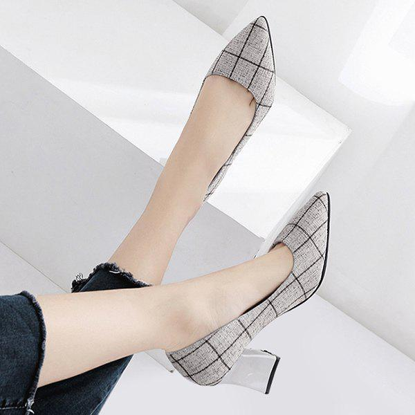 Chunky Heel Point Toe Plaid Pumps - Gris 36