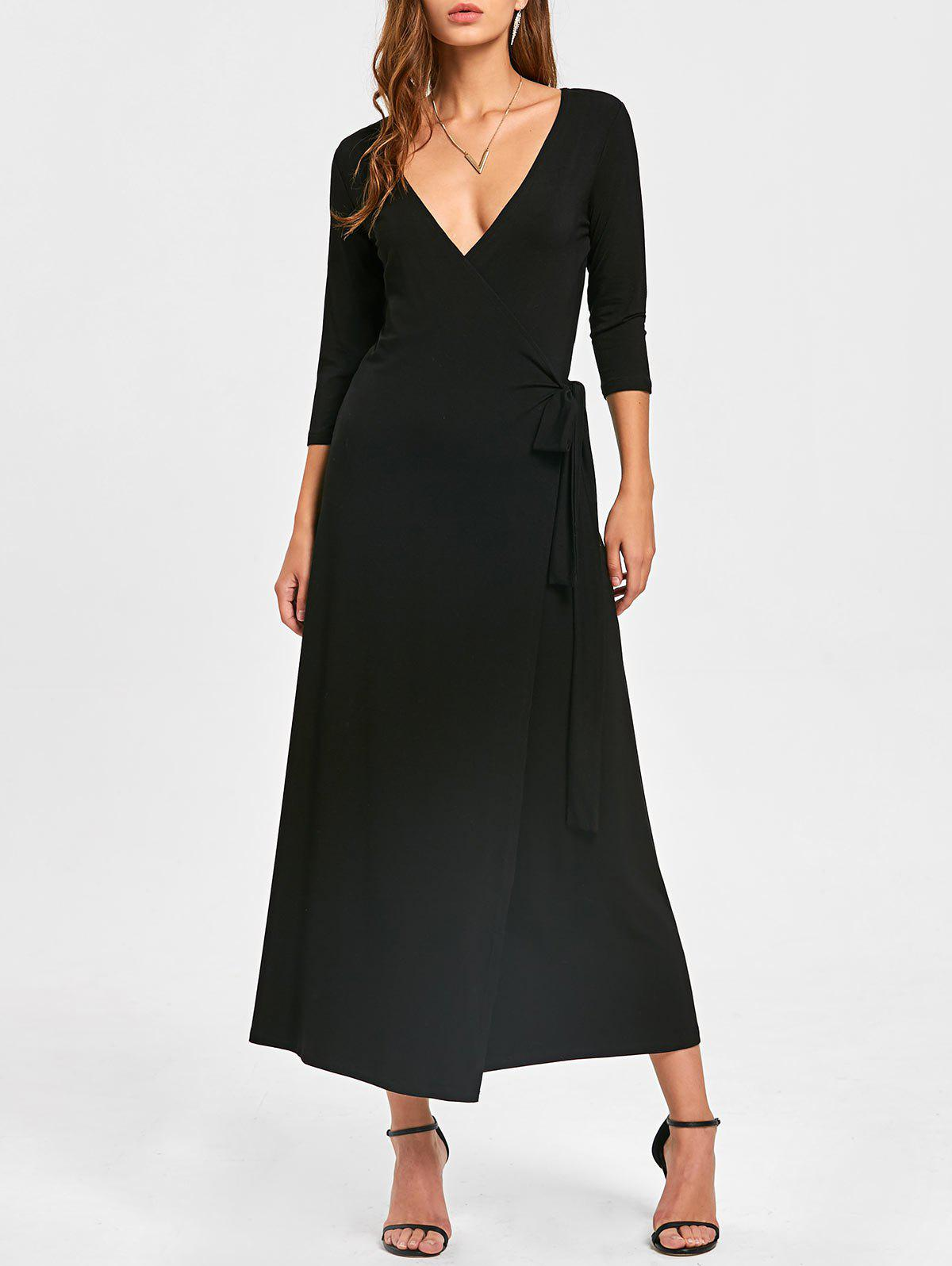 Plunging Neck Mid-calf Wrap Dress - BLACK 2XL