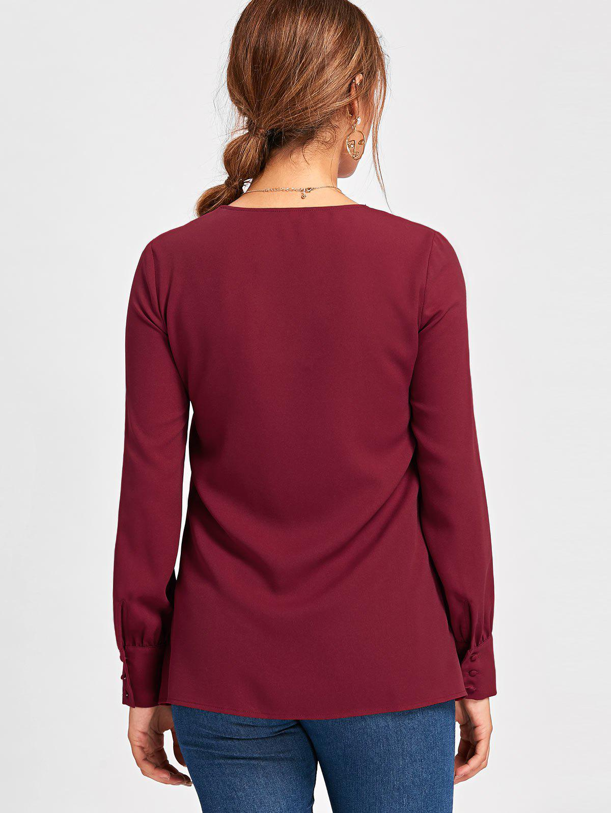 Metal Circle Plunging Neck Long Sleeve Blouse - WINE RED 2XL