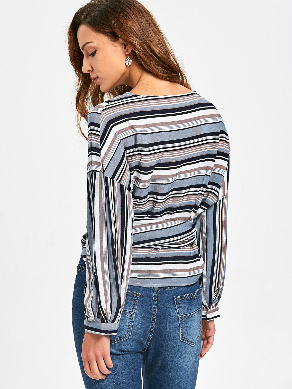 Front Knot Drop Shoulder Striped Wrap Blouse - Rayure S