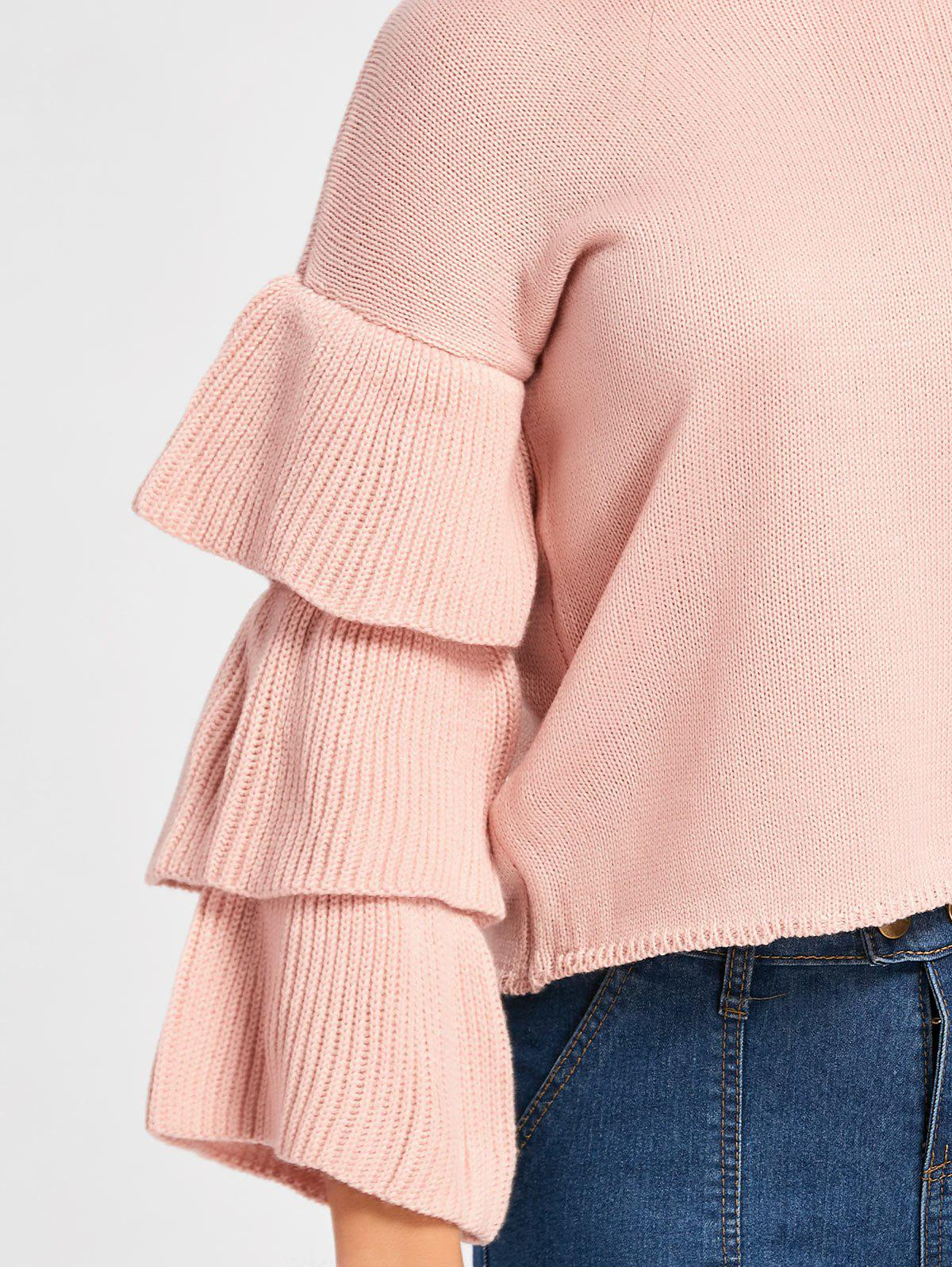 2018 Ruffle Sleeve Crew Neck Sweater LIGHT APRICOT PINK ONE SIZE ...