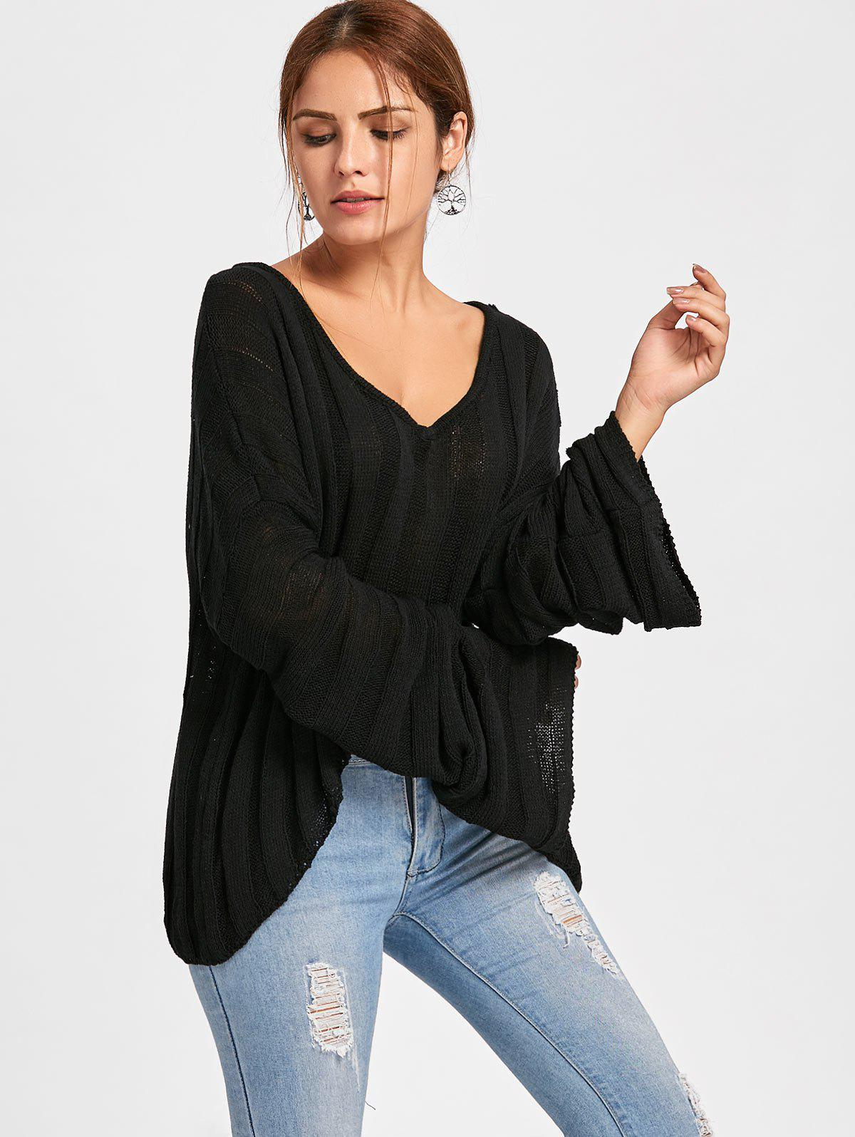 High Low Batwing Sleeve Cropped Sweater - BLACK ONE SIZE