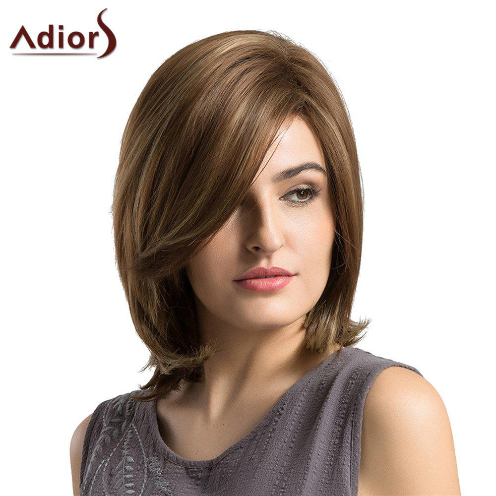 Adiors Short Inclined Bang Slight Tail Adduction Straight Bob Synthetic Wig - BROWN