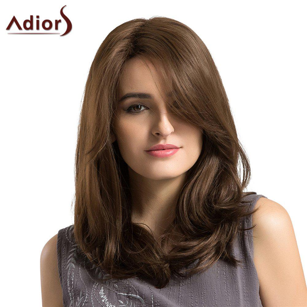 Adiors Long Side Parting Layered Shaggy Straight Bob Synthetic Wig - BROWN