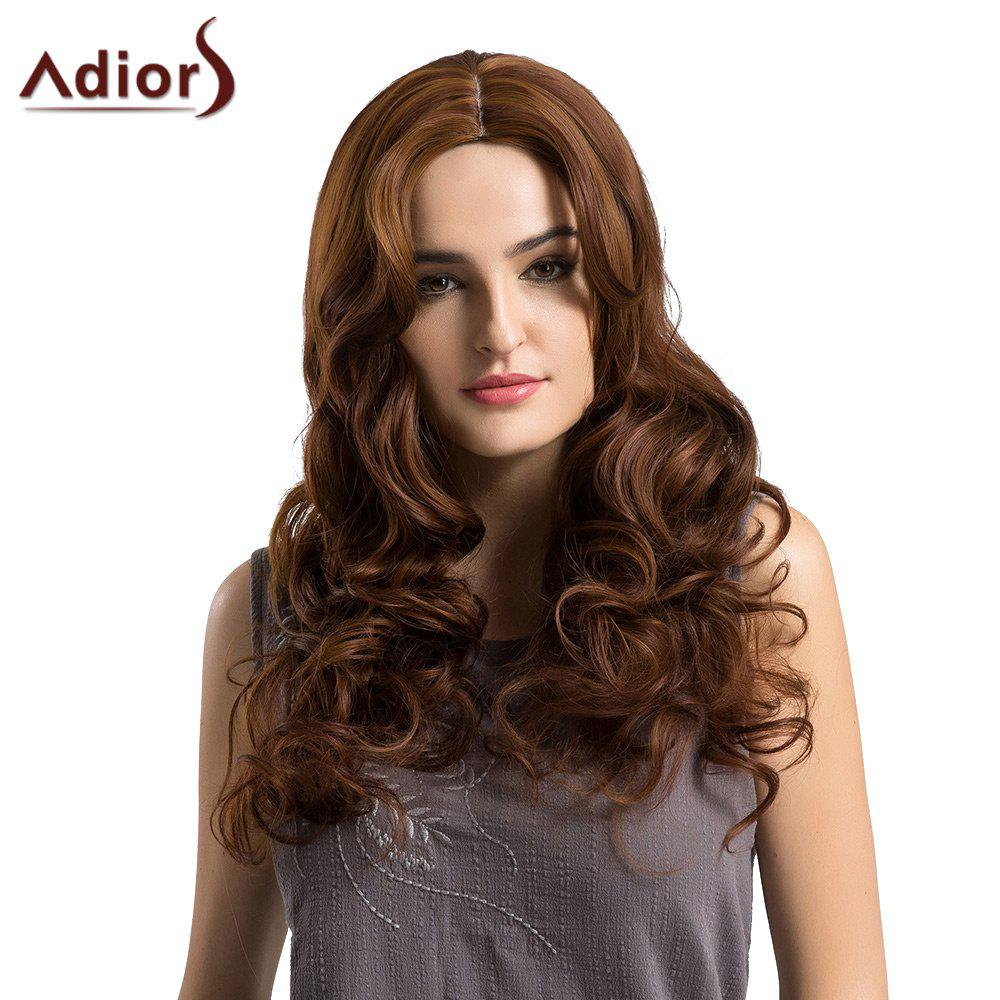 Adiors Long Center Parting Bouffant Loose Wave Synthetic Wig - BROWN