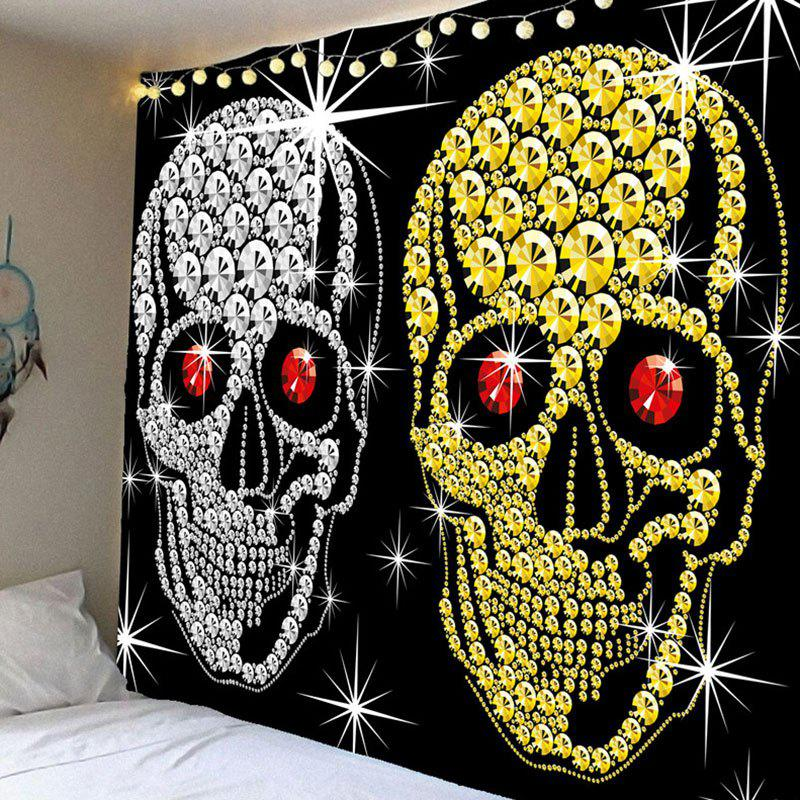 Wall Decor Halloween Gold Sliver Coin Skulls Waterproof  Tapestry - BLACK W59 INCH * L59 INCH