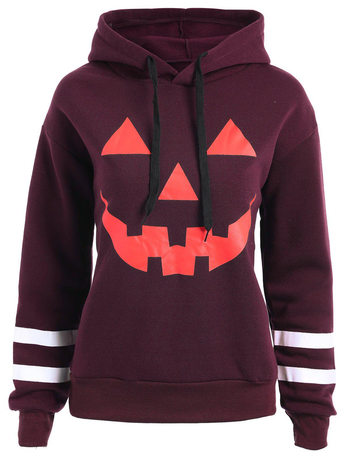 Plus Size Drop Shoulder Flocking Halloween Pumpkin Hoodie - WINE RED 2XL