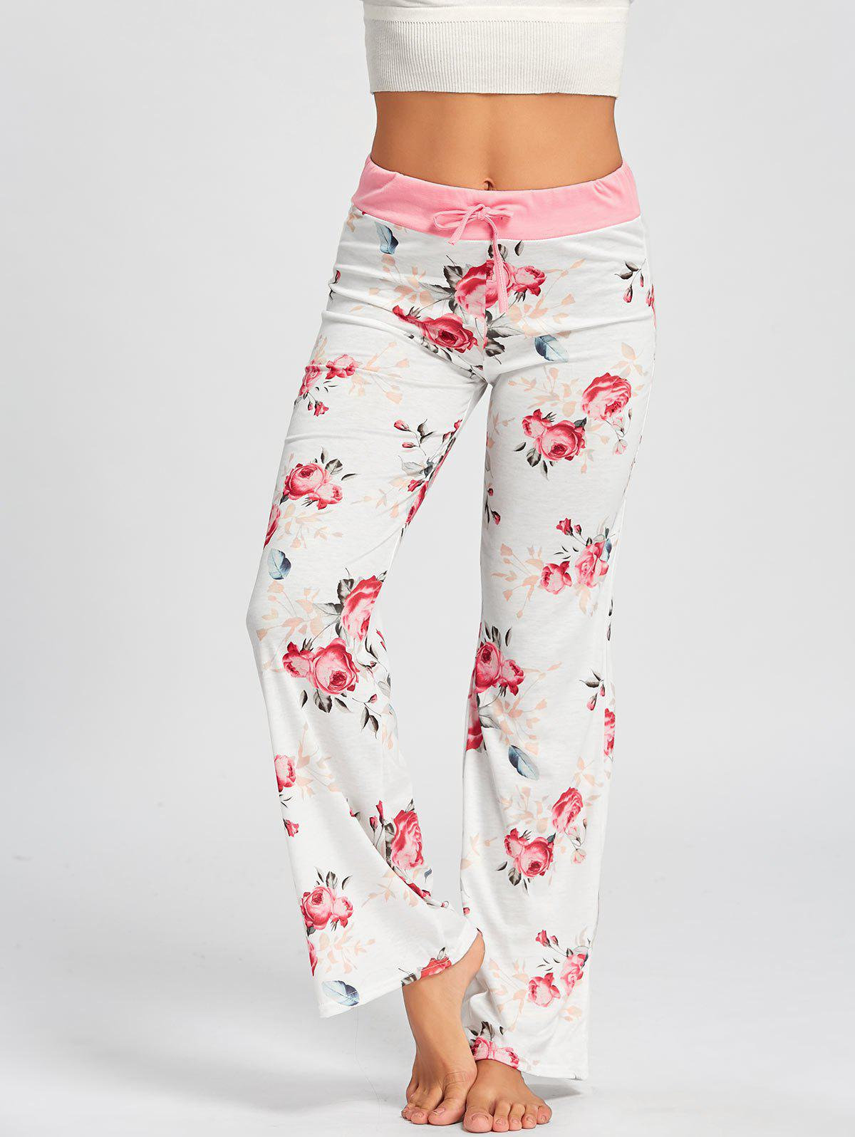 Drawstring Waist Floral PJ Pants - WHITE XL