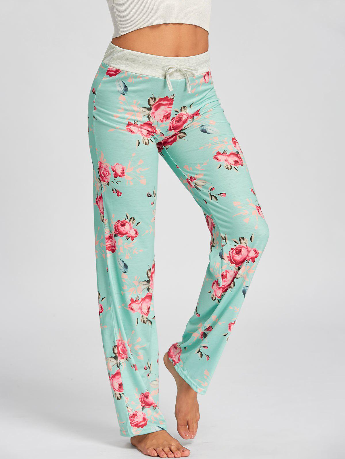 Drawstring Waist Floral PJ Pants - LIGHT GREEN M