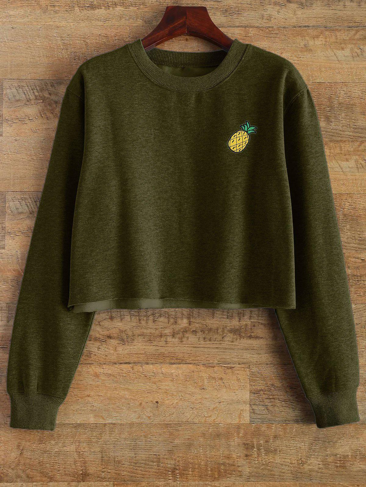 Raw Edge Cropped Sweatshirt - ARMY GREEN S