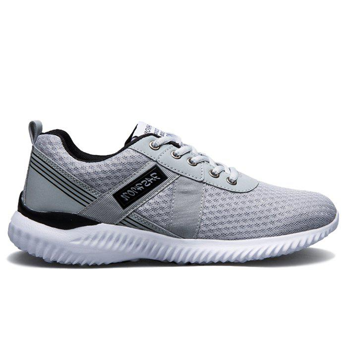 Tie Up Mesh Breathable Sneakers - DEEP GRAY 44