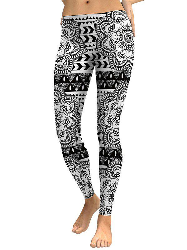 Digital Floral Print Leggings - WHITE/BLACK L