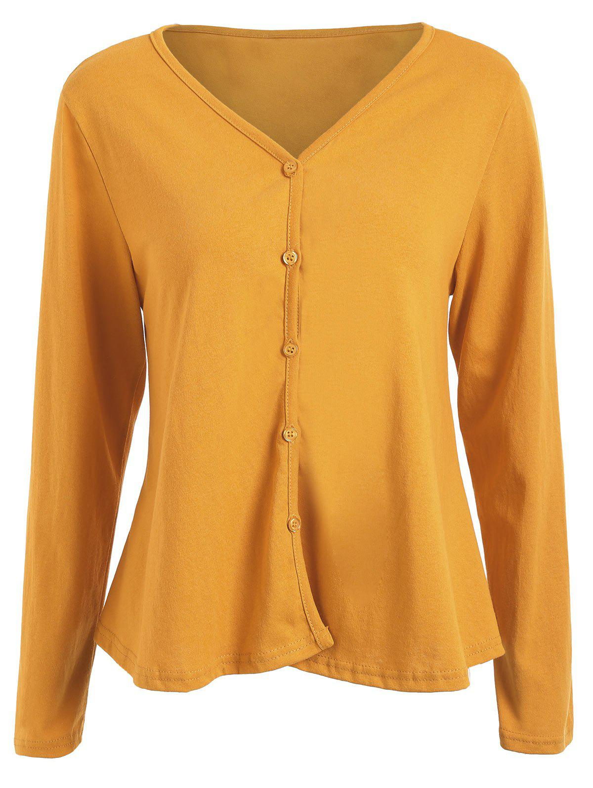 Plus Size Button Up V Neck Cardigan - GINGER 5XL