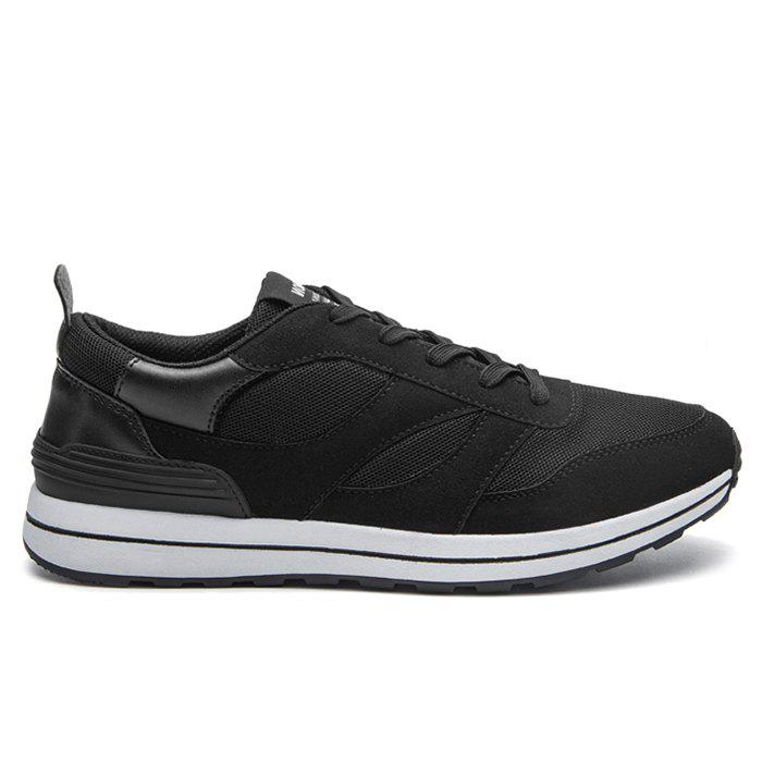 Color Block Low Top Mesh Athletic Shoes - BLACK 39