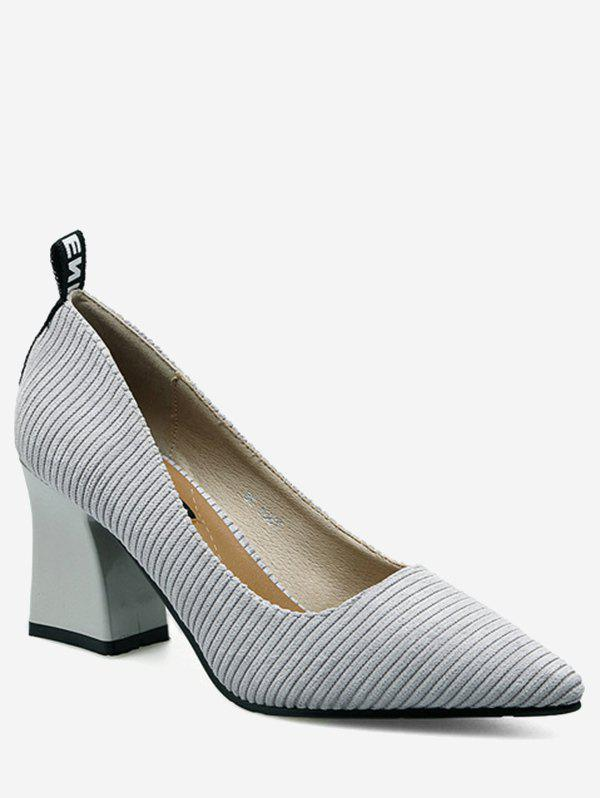 Pointe Toe Chunky Heel Stripes Pumps - Gris 36