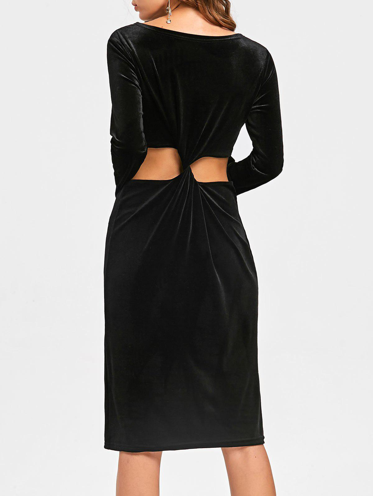 Back Knot Cut Out Robe en velours à manches longues - Noir XL