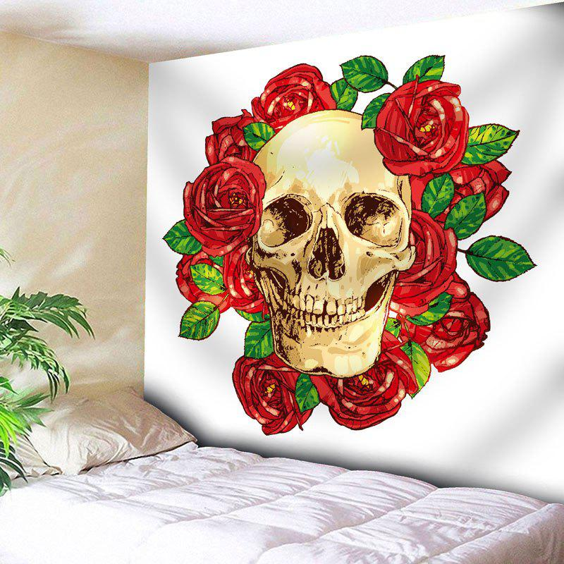 Floral Skull Print Wall Hanging Tapestry - WHITE W91 INCH * L71 INCH