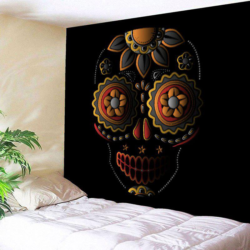 Flower Skull Printed Wall Art Tapestry - BLACK W91 INCH * L71 INCH