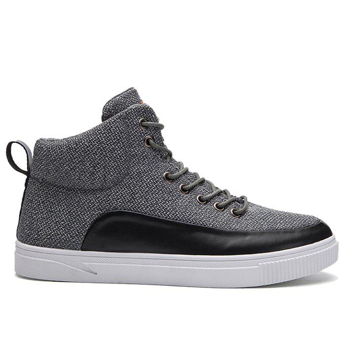 Manmade Leather Panel High Top Sneakers - GRAY 42
