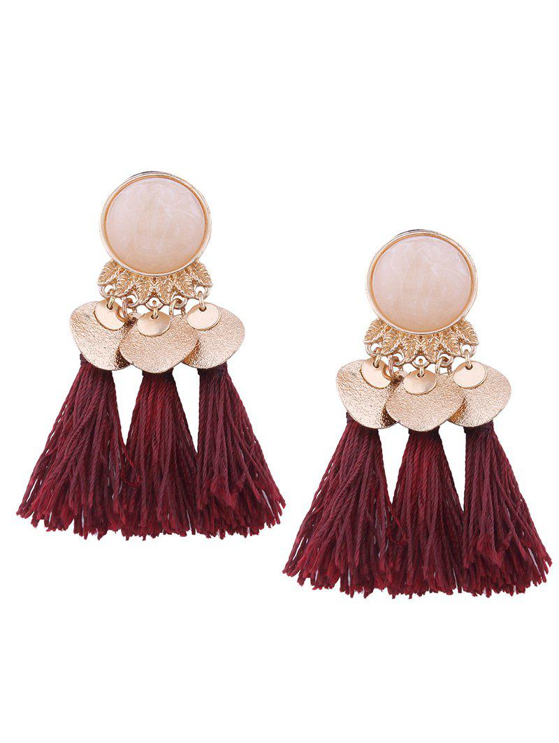 Faux Gem Alloy Leaf Disc Tassel Earrings faux opal geometric earrings