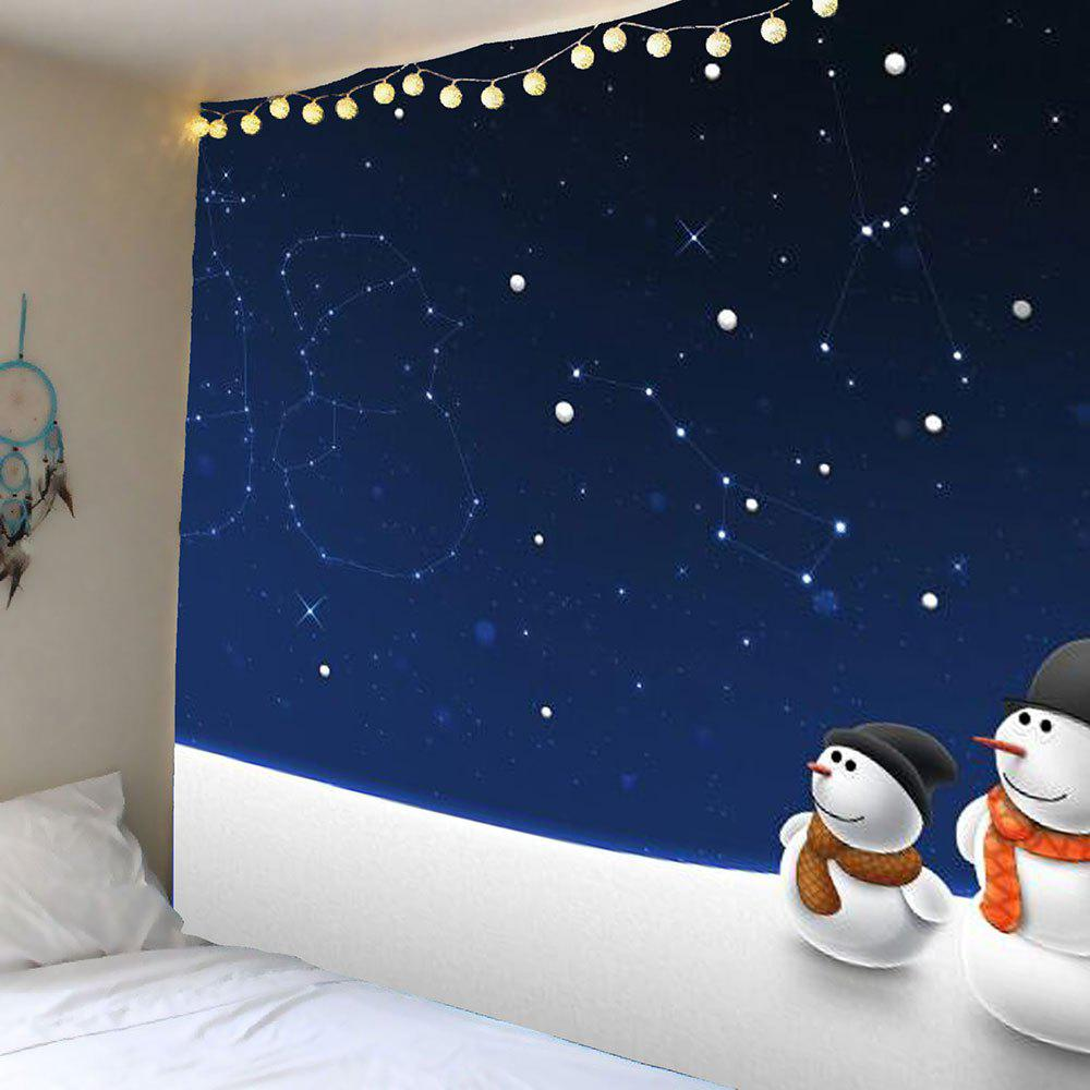 Wall Hanging Christmas Starry Sky Snowman Pattern Tapestry - DEEP BLUE W79 INCH * L71 INCH