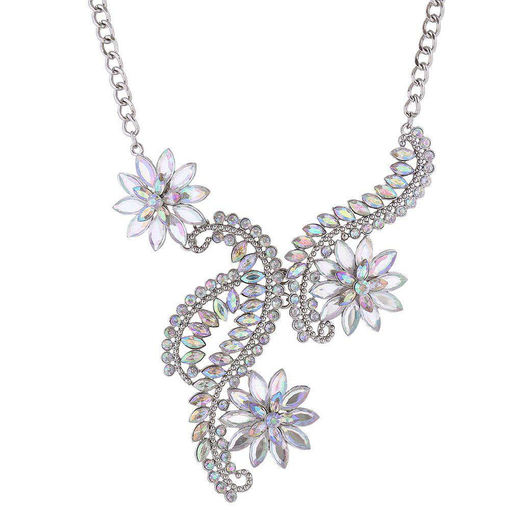 Faux Crystal Rhinestone Statement Flower Necklace 226874503