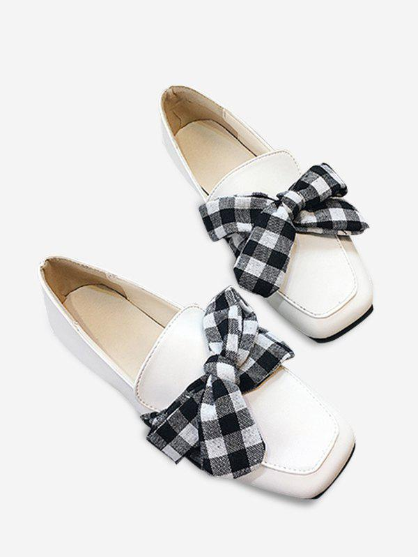 Bowknot Slip On Square Toe Flat Shoes - WHITE 37