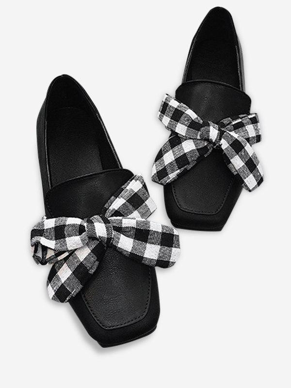 Bowknot Slip On Square Toe Flat Shoes - BLACK 37