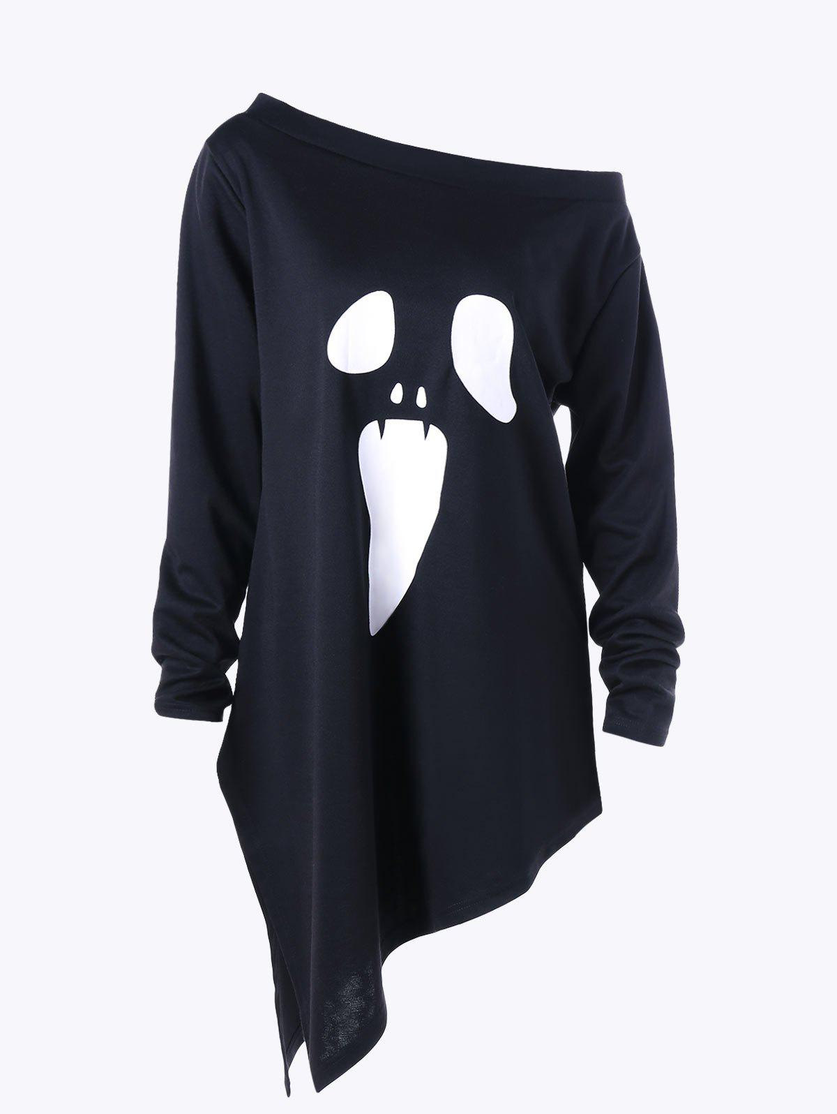 Halloween Plus Size Skew Neck Asymmetric Graphic Sweatshirt plus size halloween bat stars skew neck sweatshirt