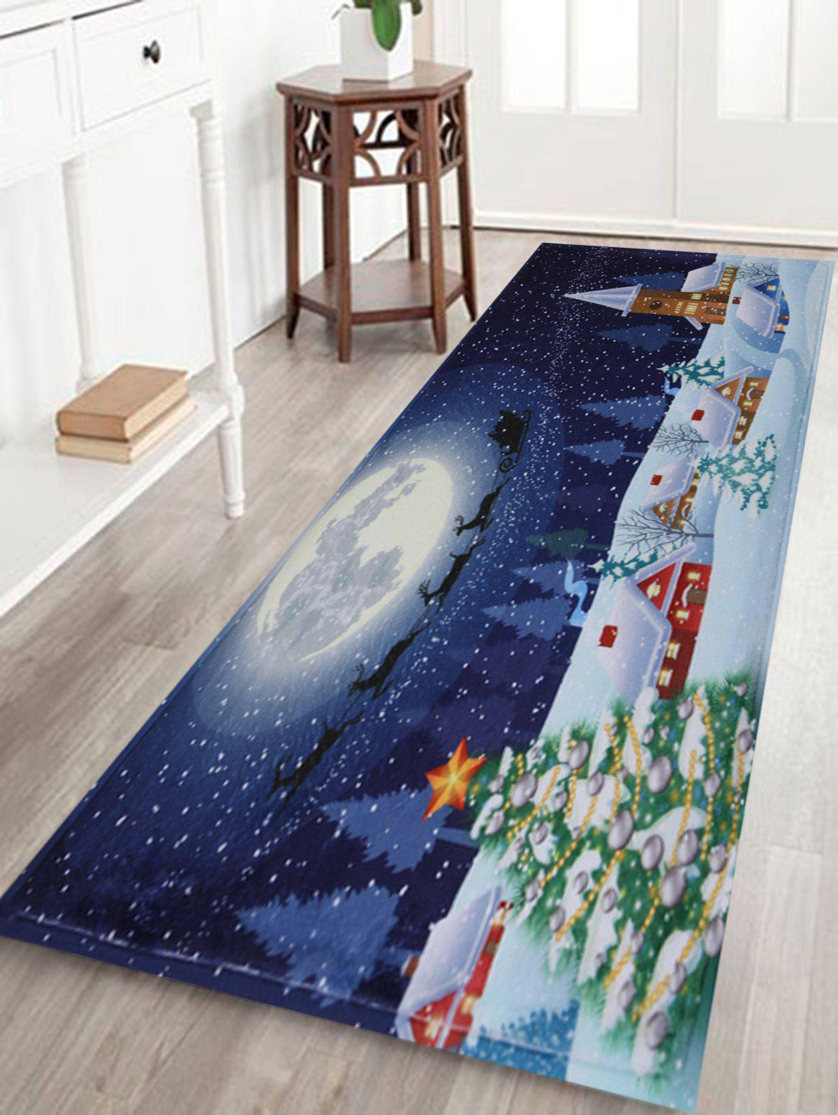 2018 tapis de salle de bain antid rapant motif lune neige et sapin de no l bleu largeur pouces. Black Bedroom Furniture Sets. Home Design Ideas