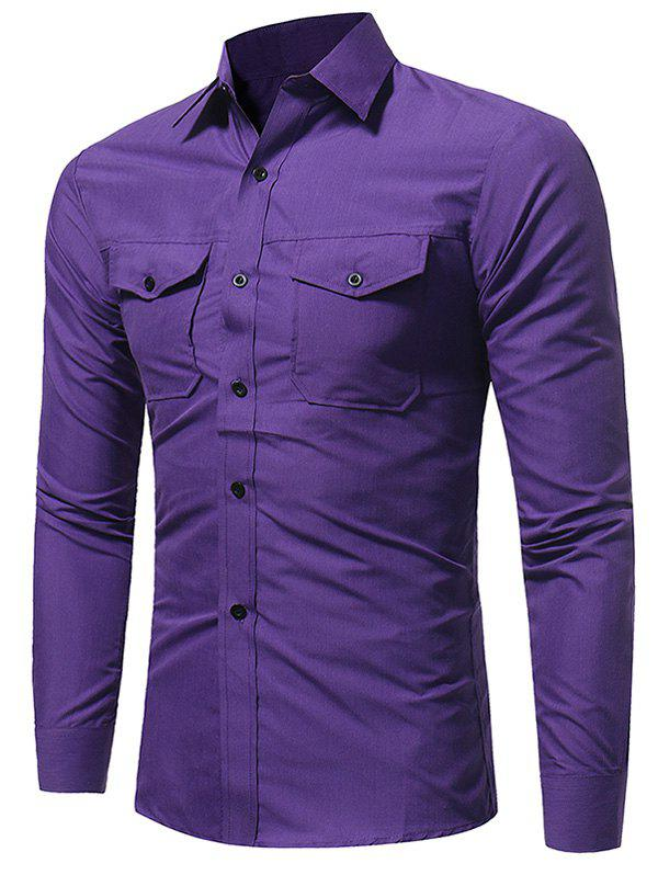 Double Pockets Slim Fit Fatigue Shirt - PURPLE M