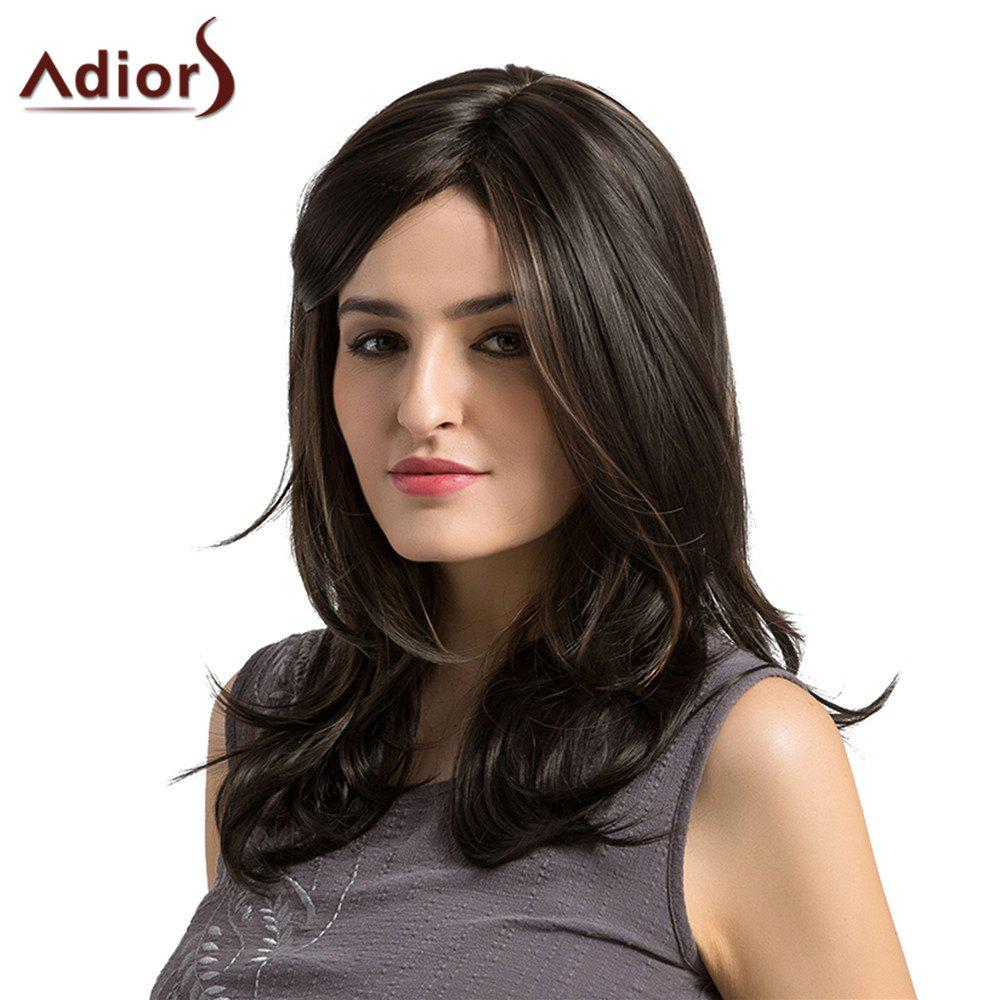 Adiors Medium Highlight Side Parting Layered Slightly Curled Synthetic Wig - COLORMIX