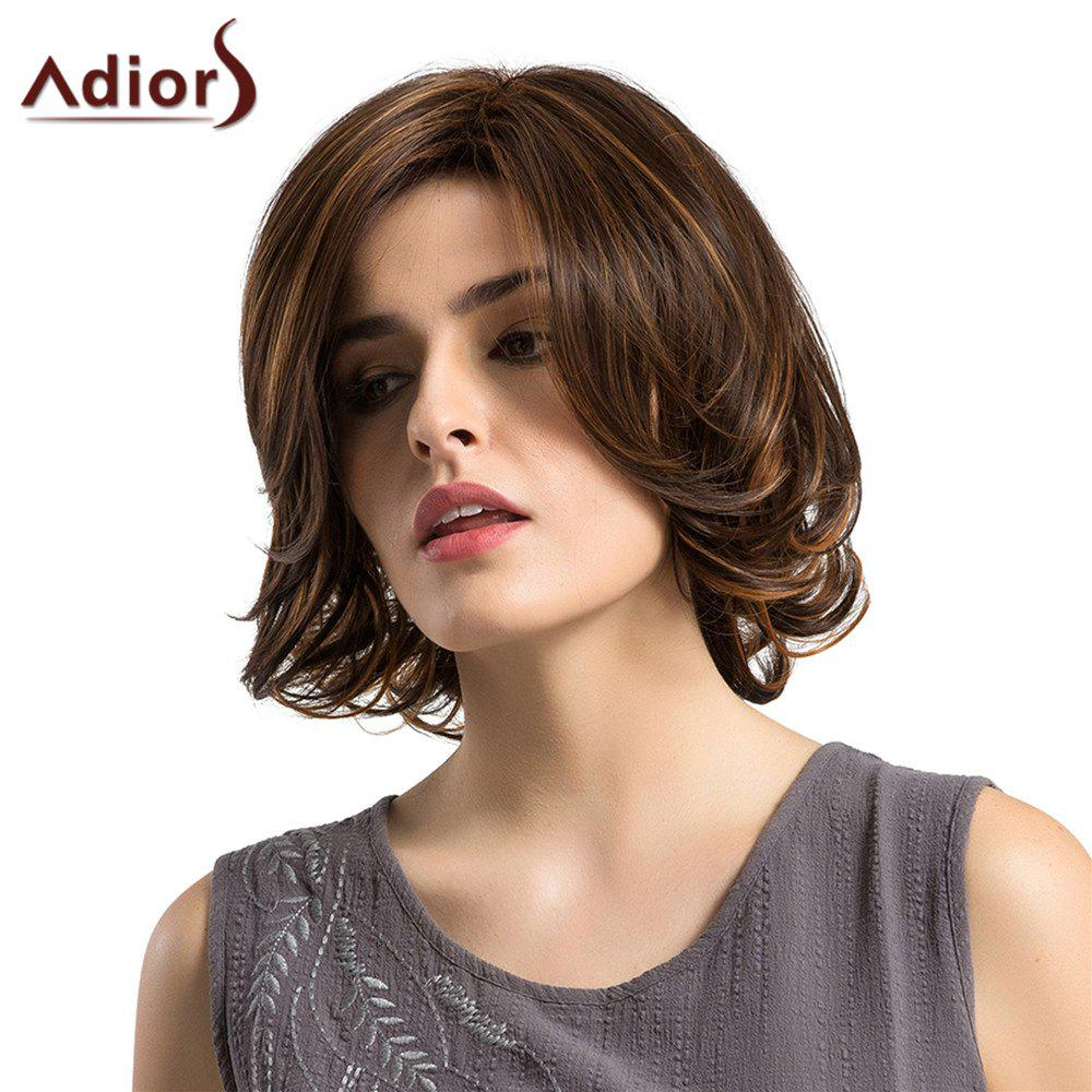 Adiors Side Parting Tail Upwards Straight Short Bob Colormix Synthetic Wig - COLORMIX