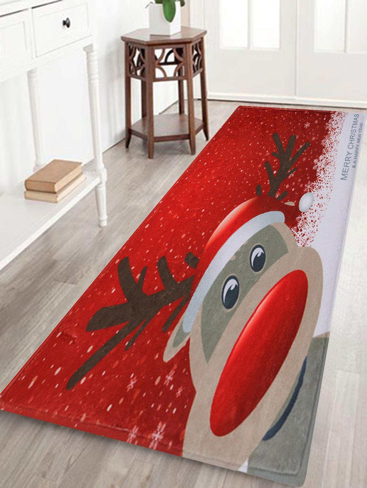 Christmas Deer Pattern Indoor Outdoor Area Rug - RED W24 INCH * L71 INCH