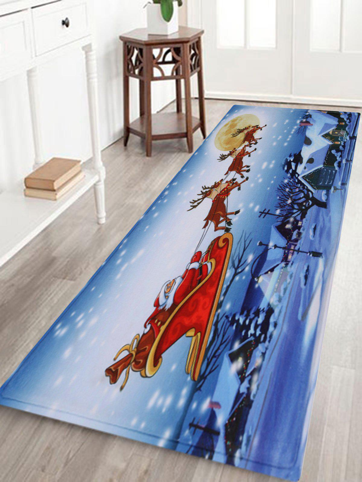 Christmas Santa Sleigh Pattern Indoor Outdoor Area Rug - COLORMIX W24 INCH * L71 INCH