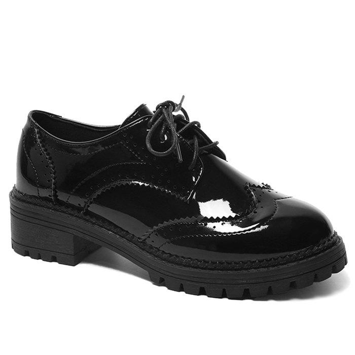 Lace Up Patent Leather Wingtip Flat Shoes - BLACK 35