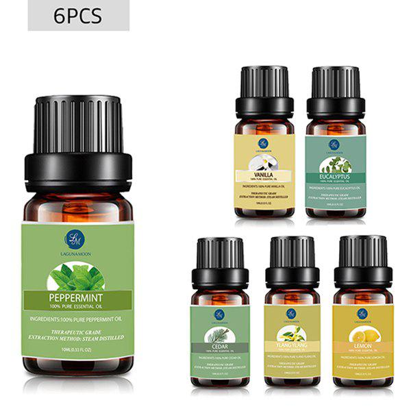6 Bottles Peppermint Vanilla Eucalyptus Cedar Ylang Ylang Lemon Essential Oil Set - multicolor