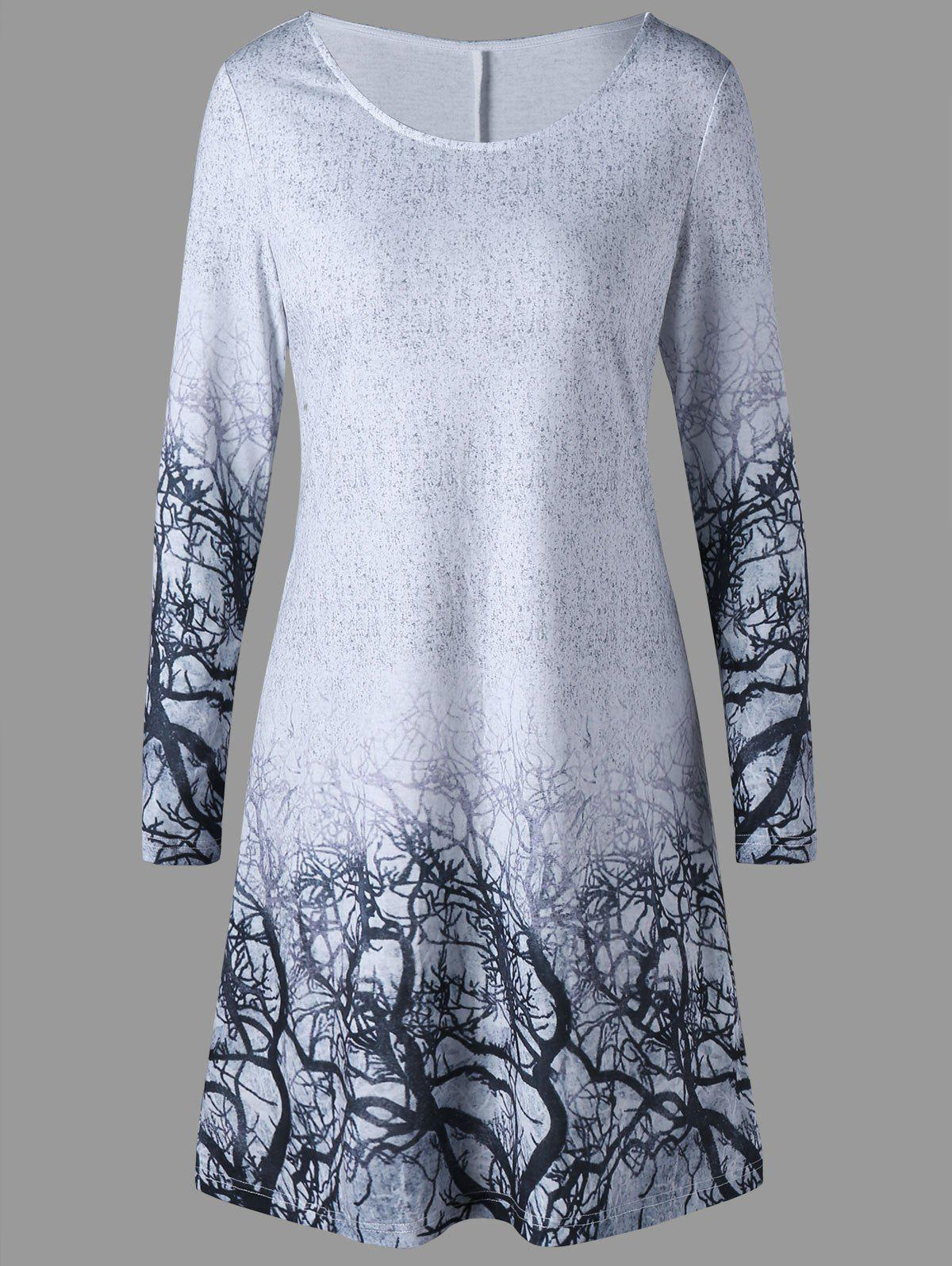 Branches Print Marled Tee Dress