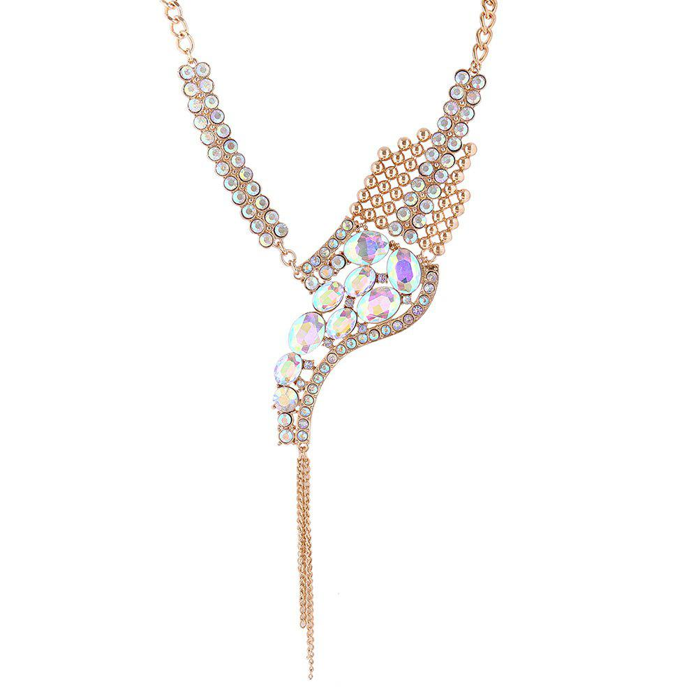 Statement Rhinestone Sparkly Fringed Necklace - COLORMIX