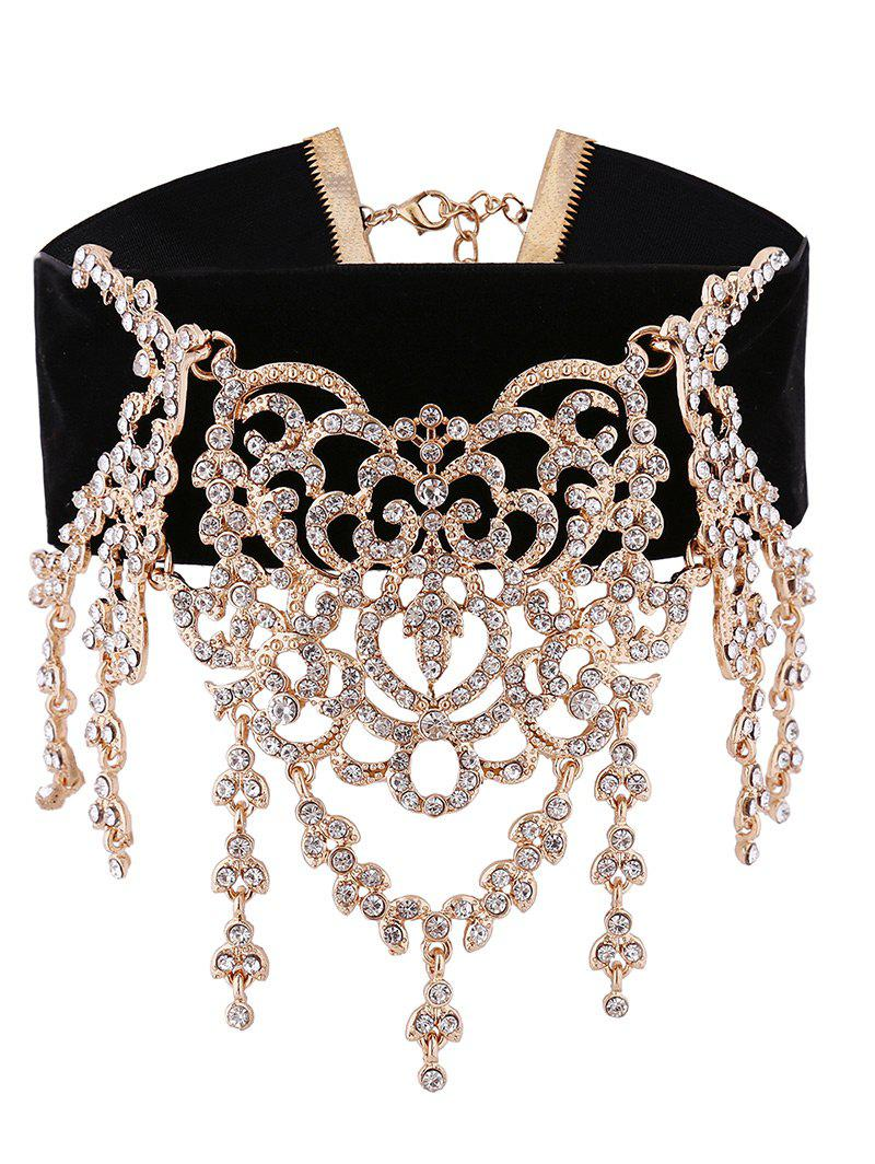 Sparkly Rhinestone Chandelier Choker Necklace - GOLDEN