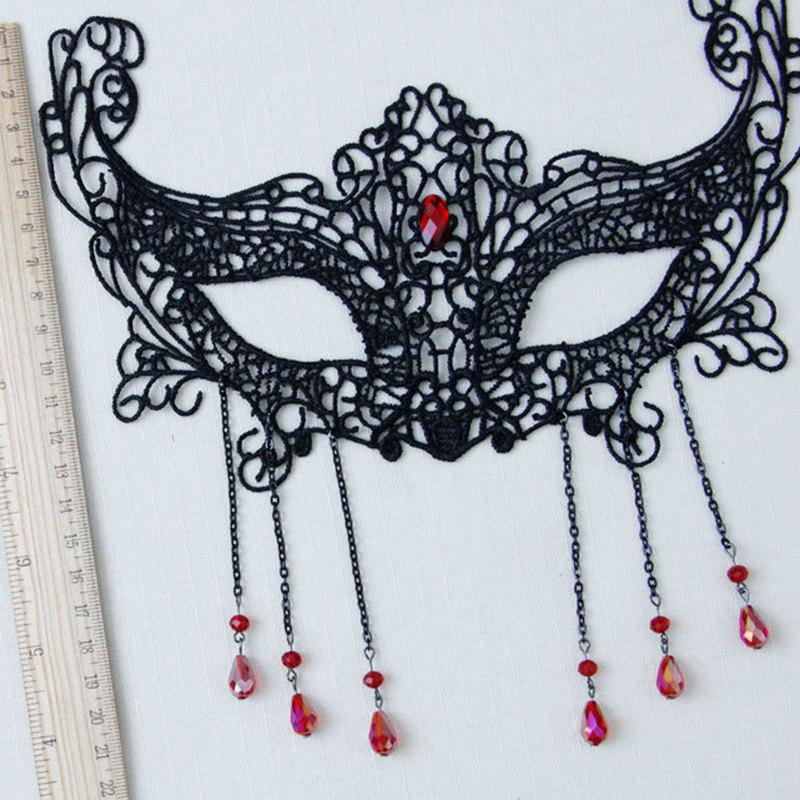 Halloween Faux Ruby Lace Teardrop Party Mask - BLACK