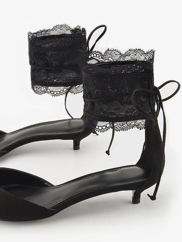 Two Pieces Ankle Strap Pointed Toe Sandals - BLACK 40