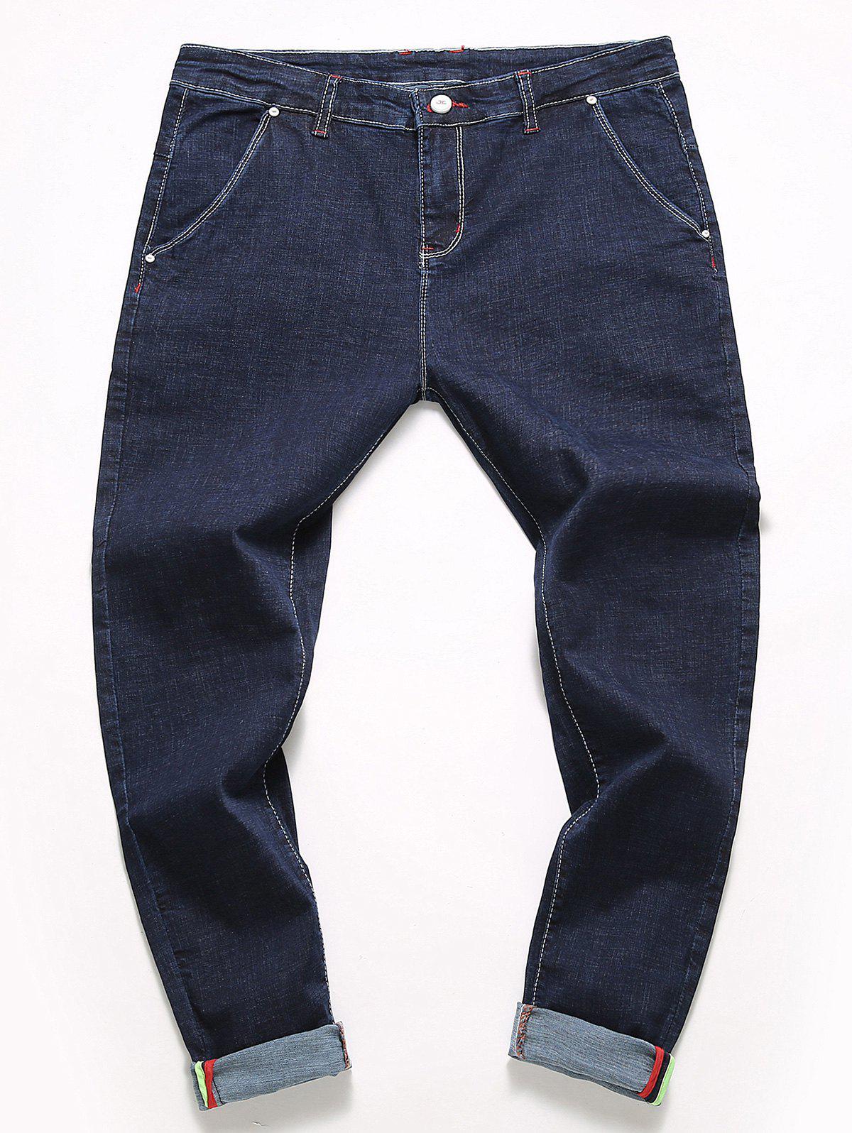 Casual Straight Leg Jeans - BLUE 32
