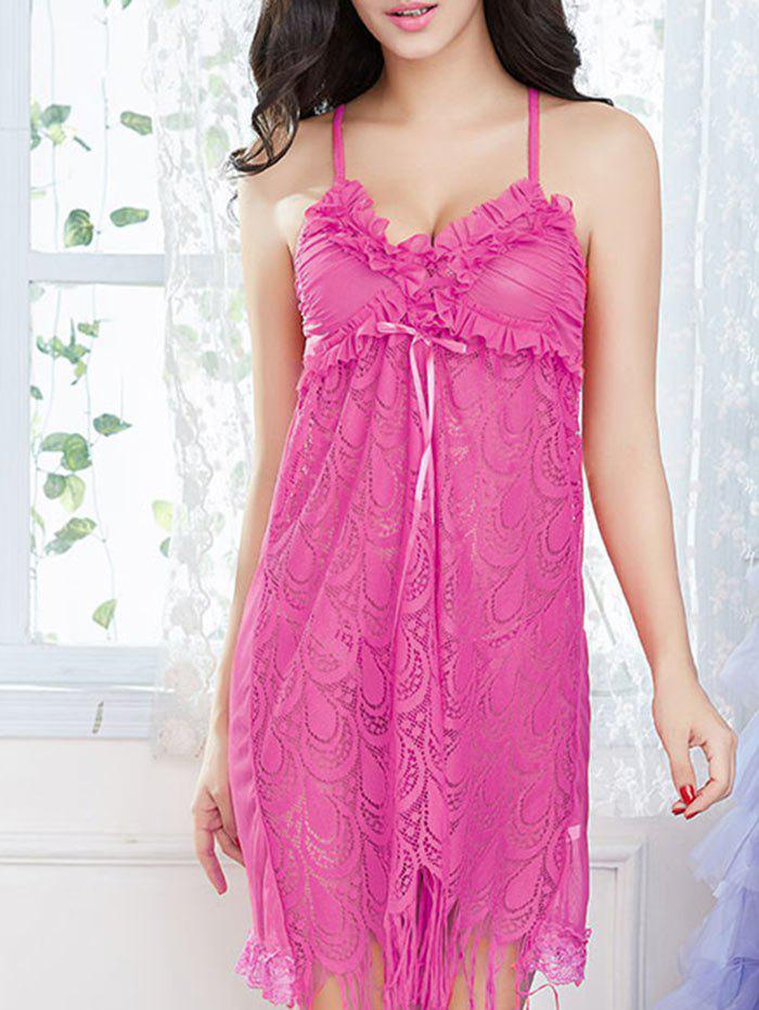 Lace Frill Trim Slip Babydoll with Fringes - TUTTI FRUTTI ONE SIZE
