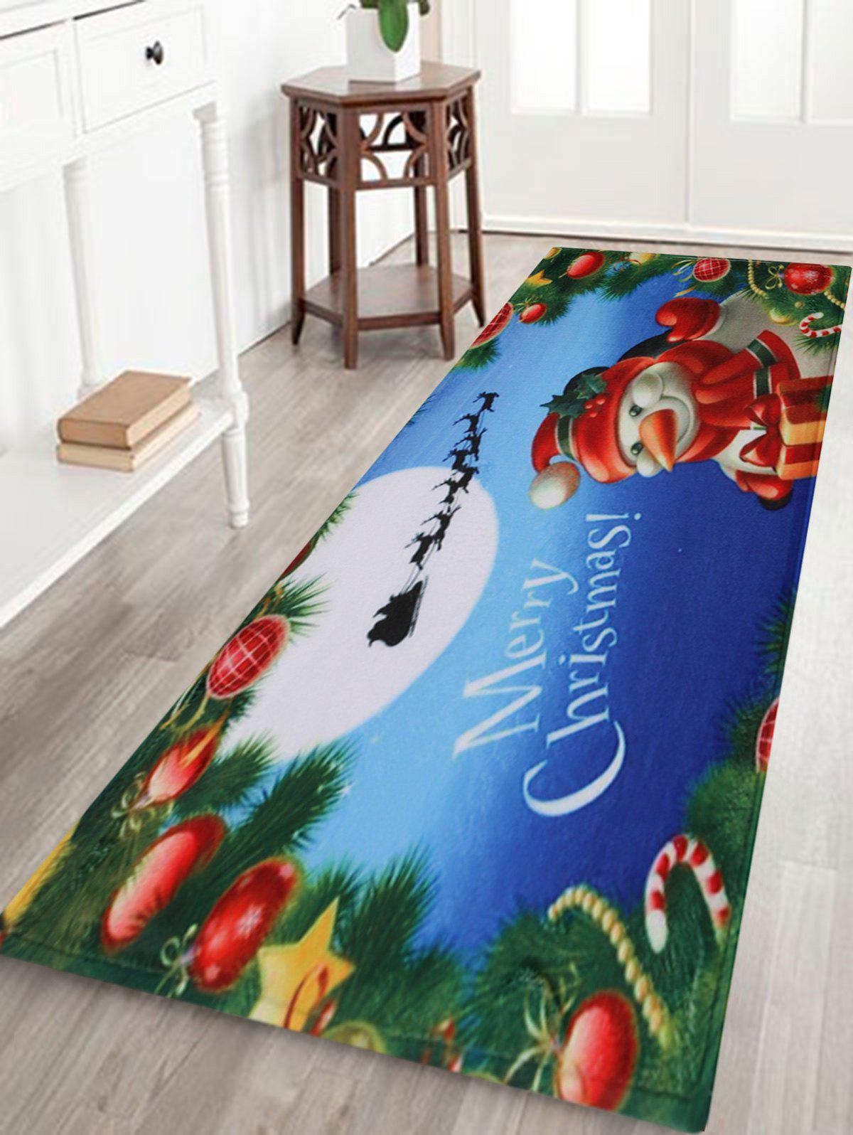 Merry Christmas Snowman Pattern Indoor Outdoor Area Rug - COLORMIX W24 INCH * L71 INCH