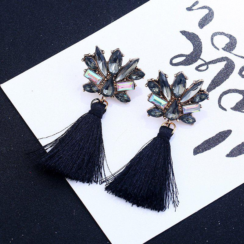 Rhinestone Alloy Tassel Drop Earrings - BLACK