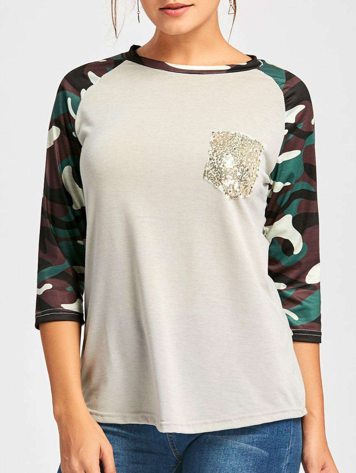 Raglan Sleeve Camo Sequin Pocket Tee - LIGHT GRAY S