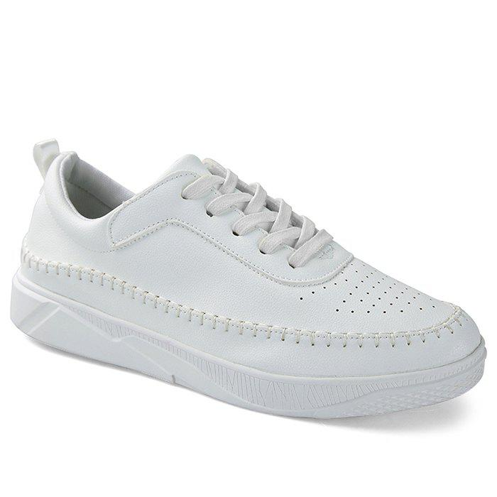 Breathable Low-top Faux Leather Sneakers - WHITE 42