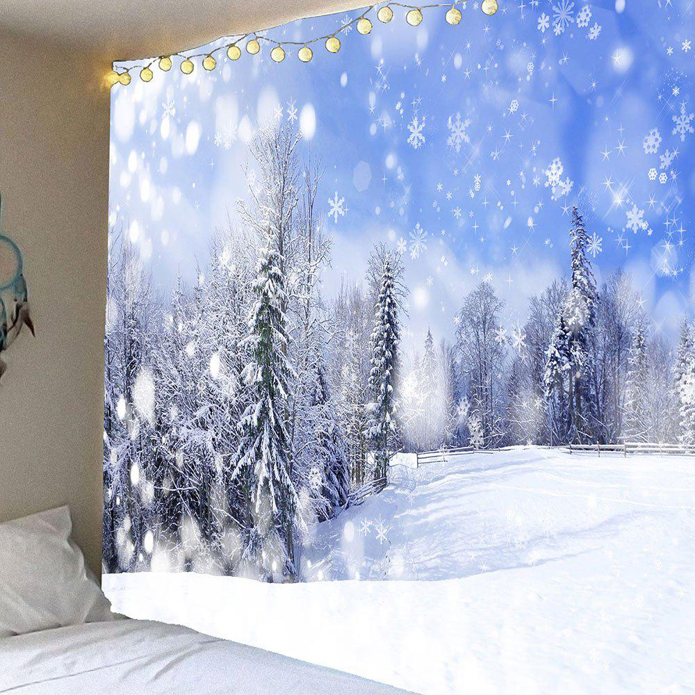 Falling Snowflakes Forest Wall Art Hanging Tapestry forest river unicorn print tapestry wall hanging art