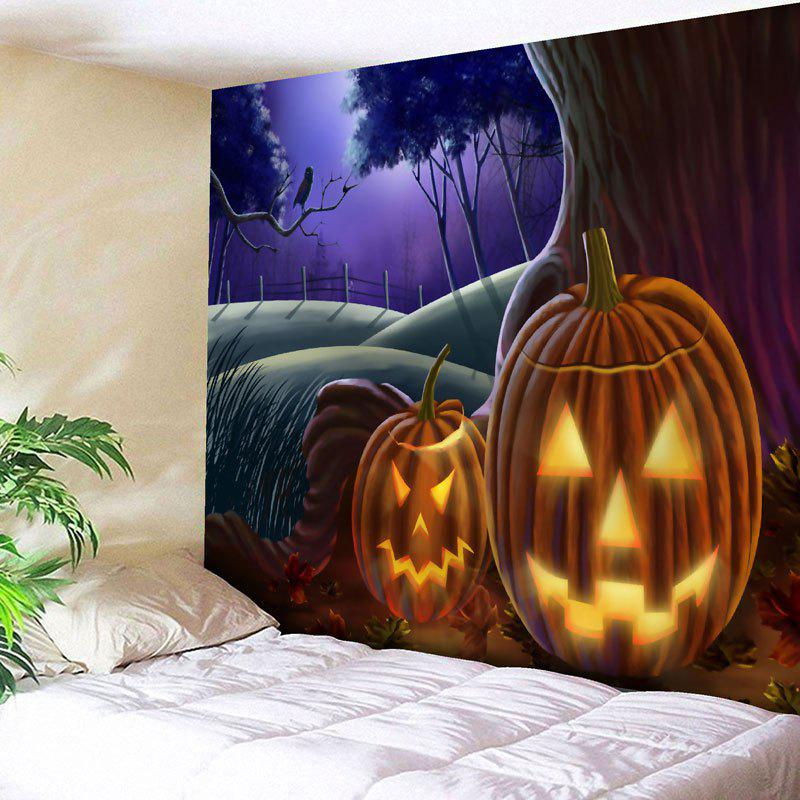 Halloween Graphic Jack O Lantern Tapestry - COLORMIX W91 INCH * L71 INCH
